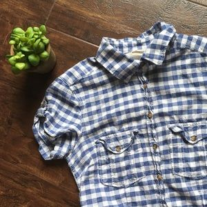[H&M] Blue Gingham Button Up Top